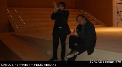 Carlos Ferrater y Félix Arranz poniendo a prueba la acústica de Castellón